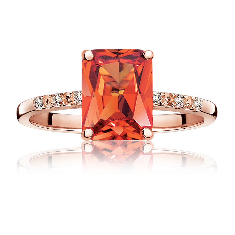 JK Crown® Created Radiant-Cut Padparadscha Sapphire Ring in Rose Gold