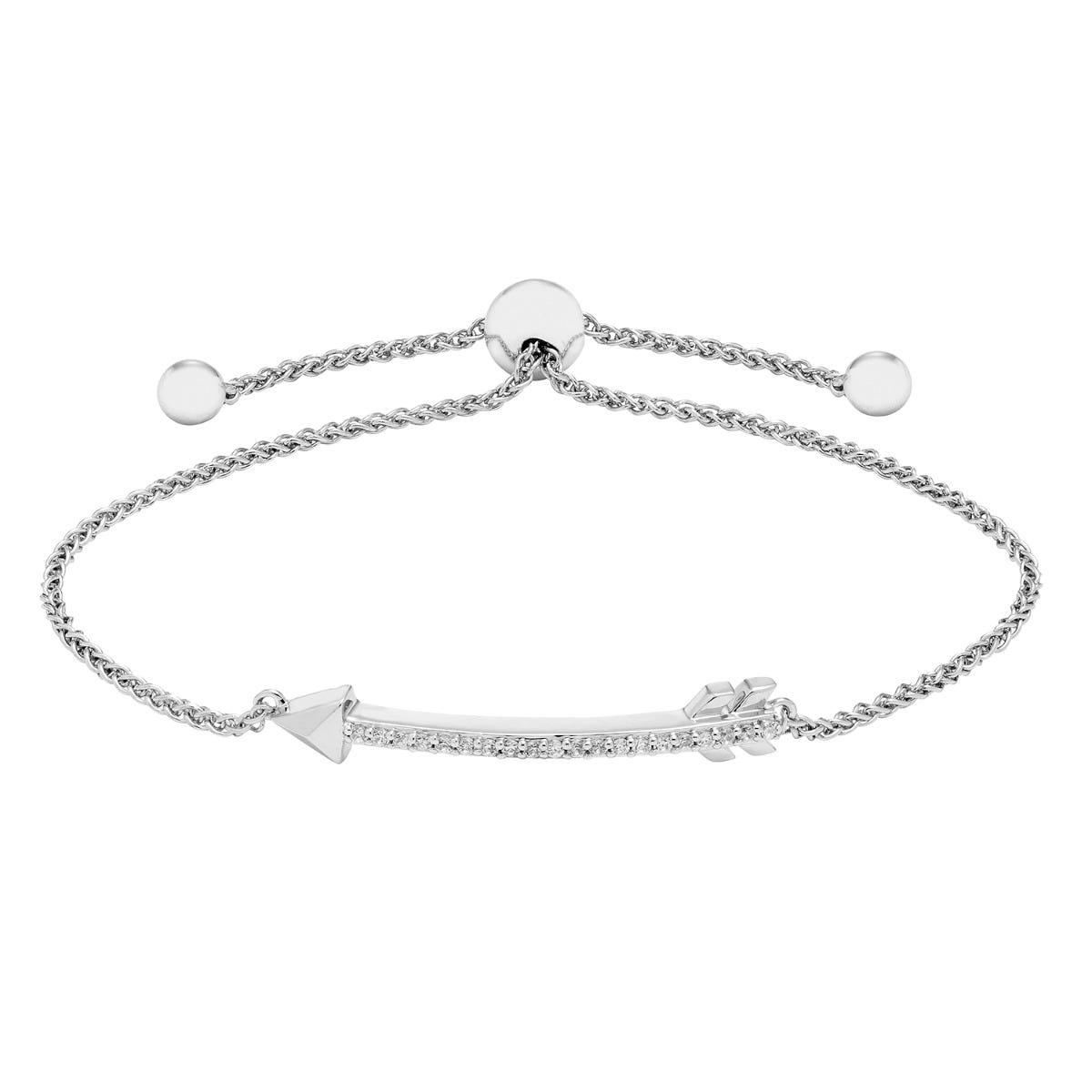 Diamond Arrow Bolo Bracelet in Sterling Silver