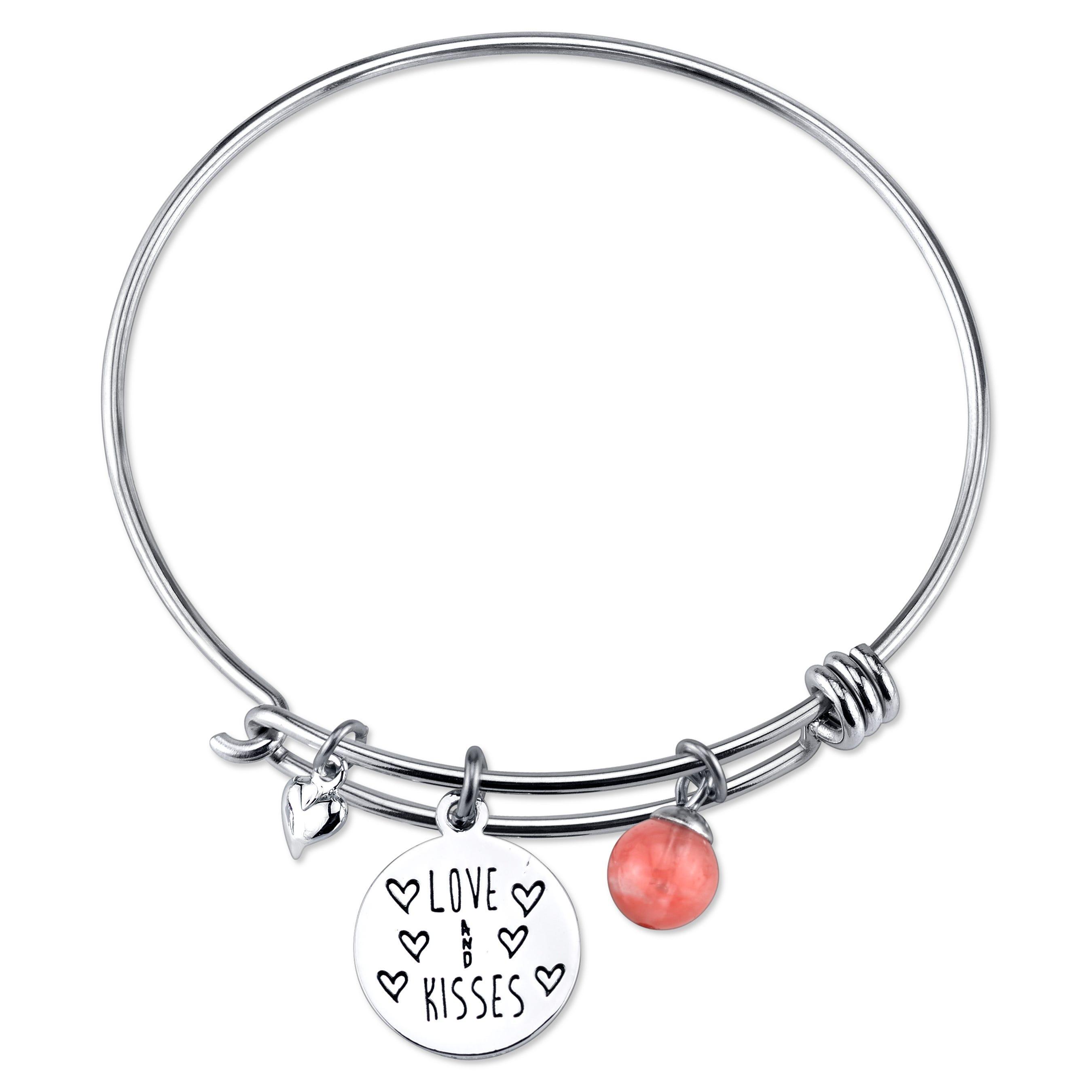DISNEY© Minnie Mouse Cherry Quartz Bangle Bracelet in Sterling Silver
