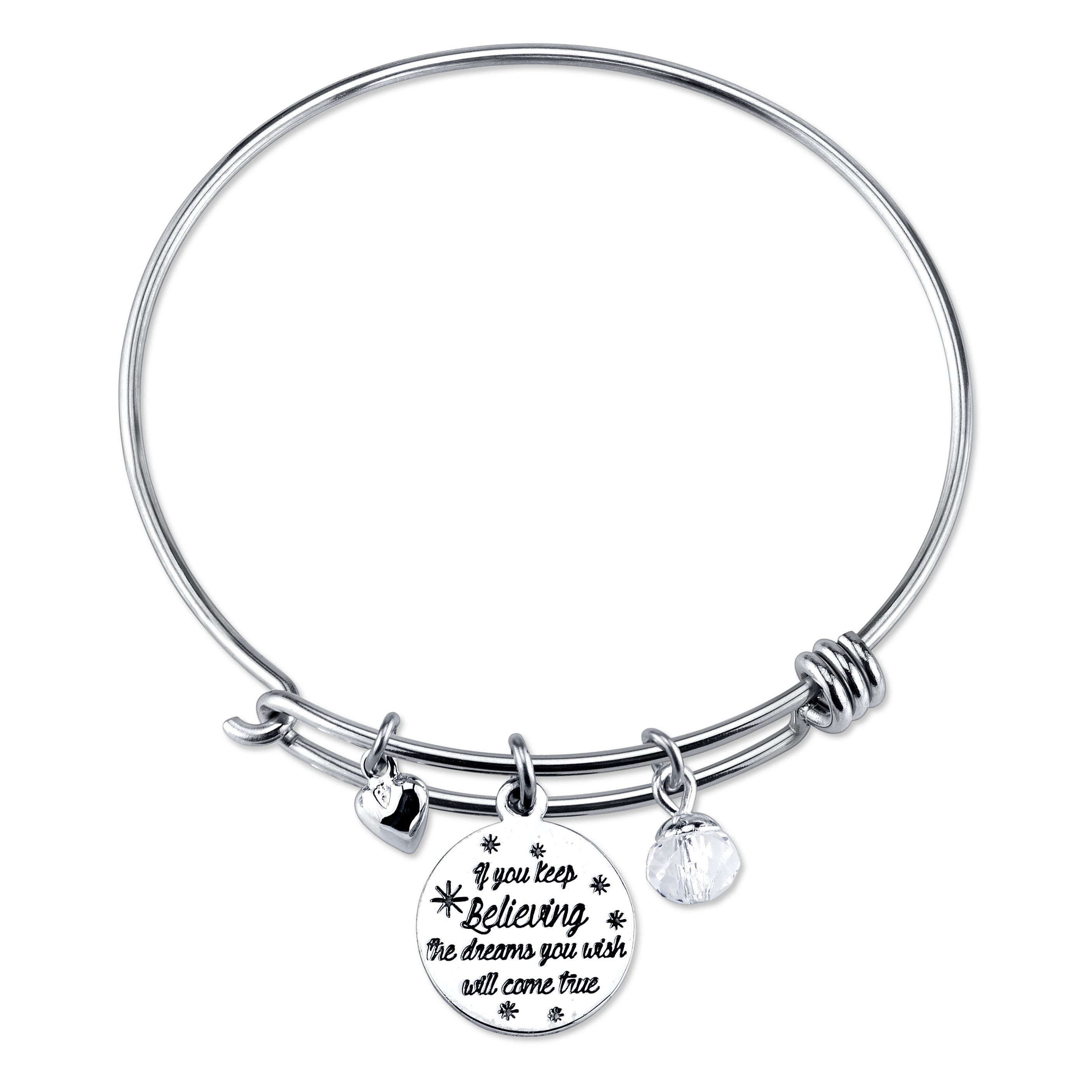 DISNEY© Cinderella Keep Believing Expandable Sterling Silver Bangle