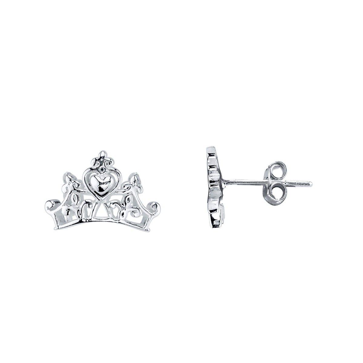 Disney© Princess Tiara Stud Earrings in Sterling Silver