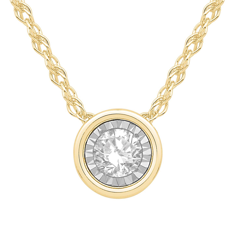 Bezel-Set Diamond 1/10ctw. (HI, I2-3) Solitaire Pendant in 10k Yellow Gold