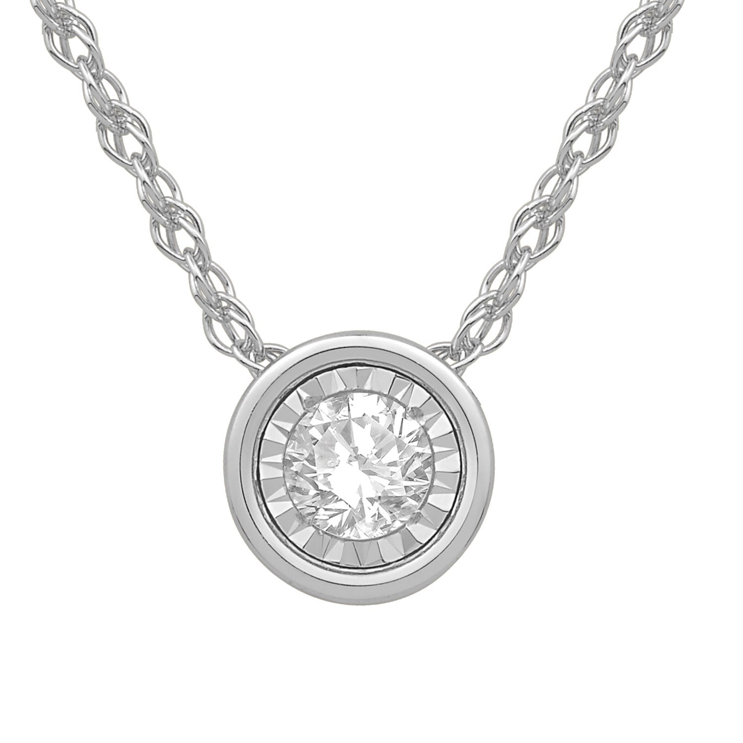 Bezel-Set Diamond 1/5ctw. (HI, I2-3) Solitaire Pendant in 10k White Gold