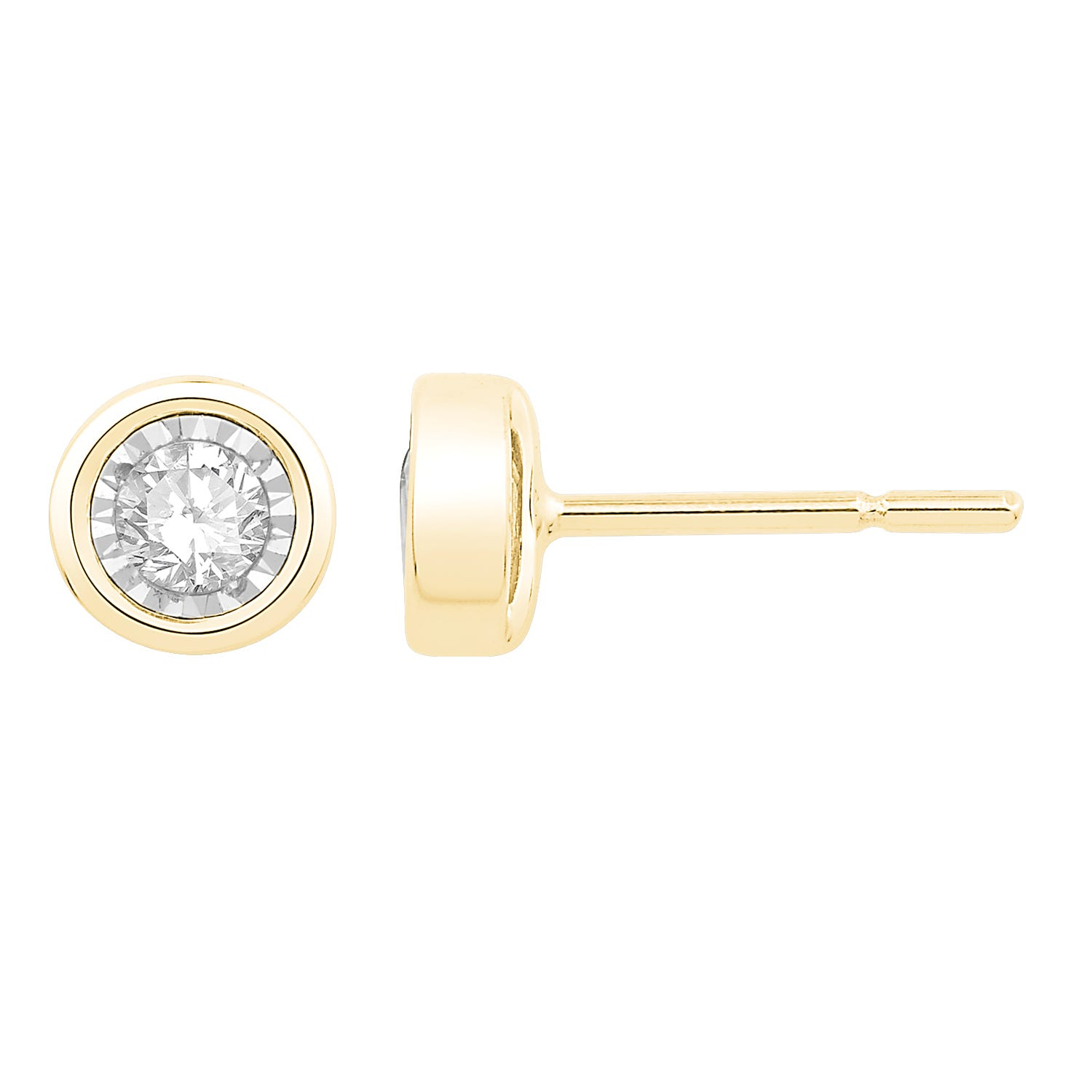Bezel-Set Diamond 1/10ctw. (HI, I2-3) Solitaire Stud Earrings in 10k Yellow Gold