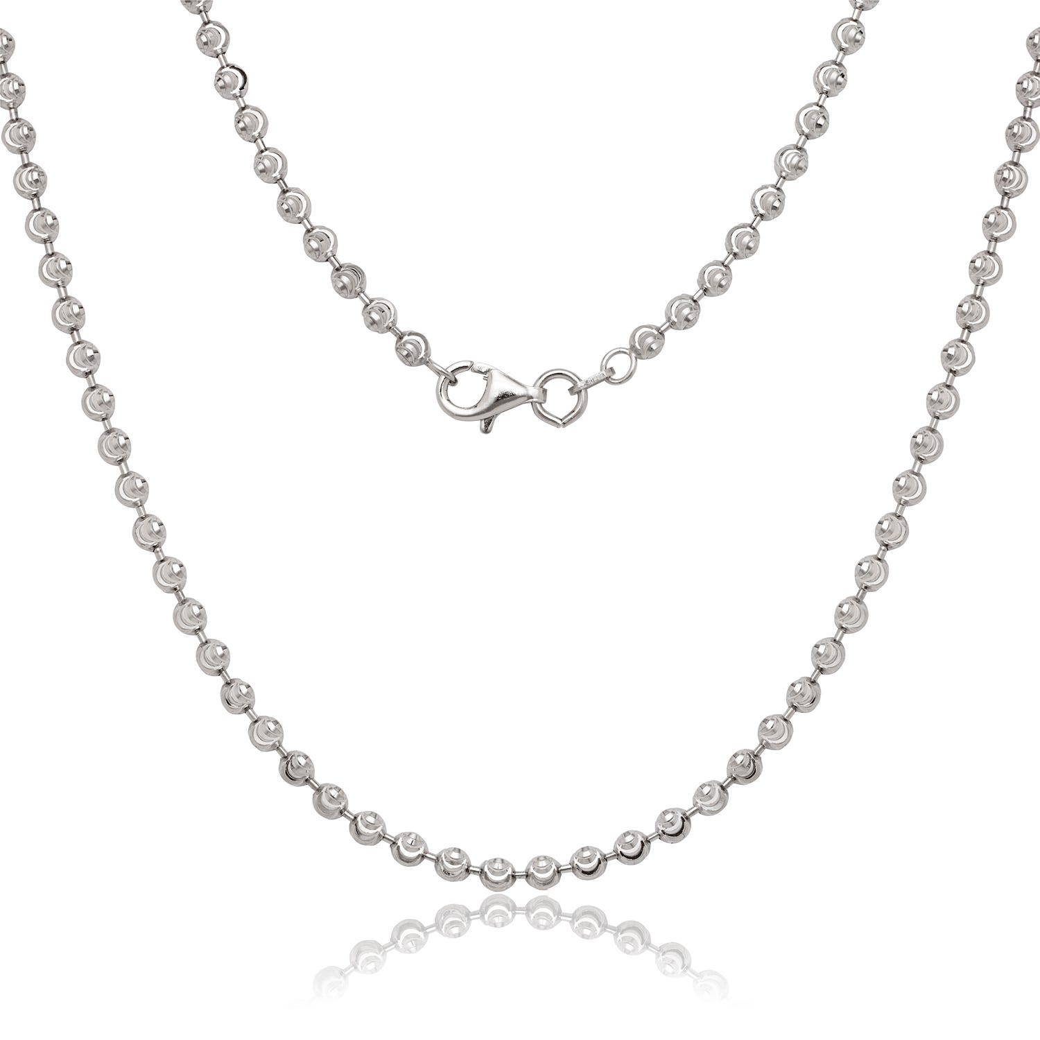 Diamond Cut Moon 3mm Bead Chain 24