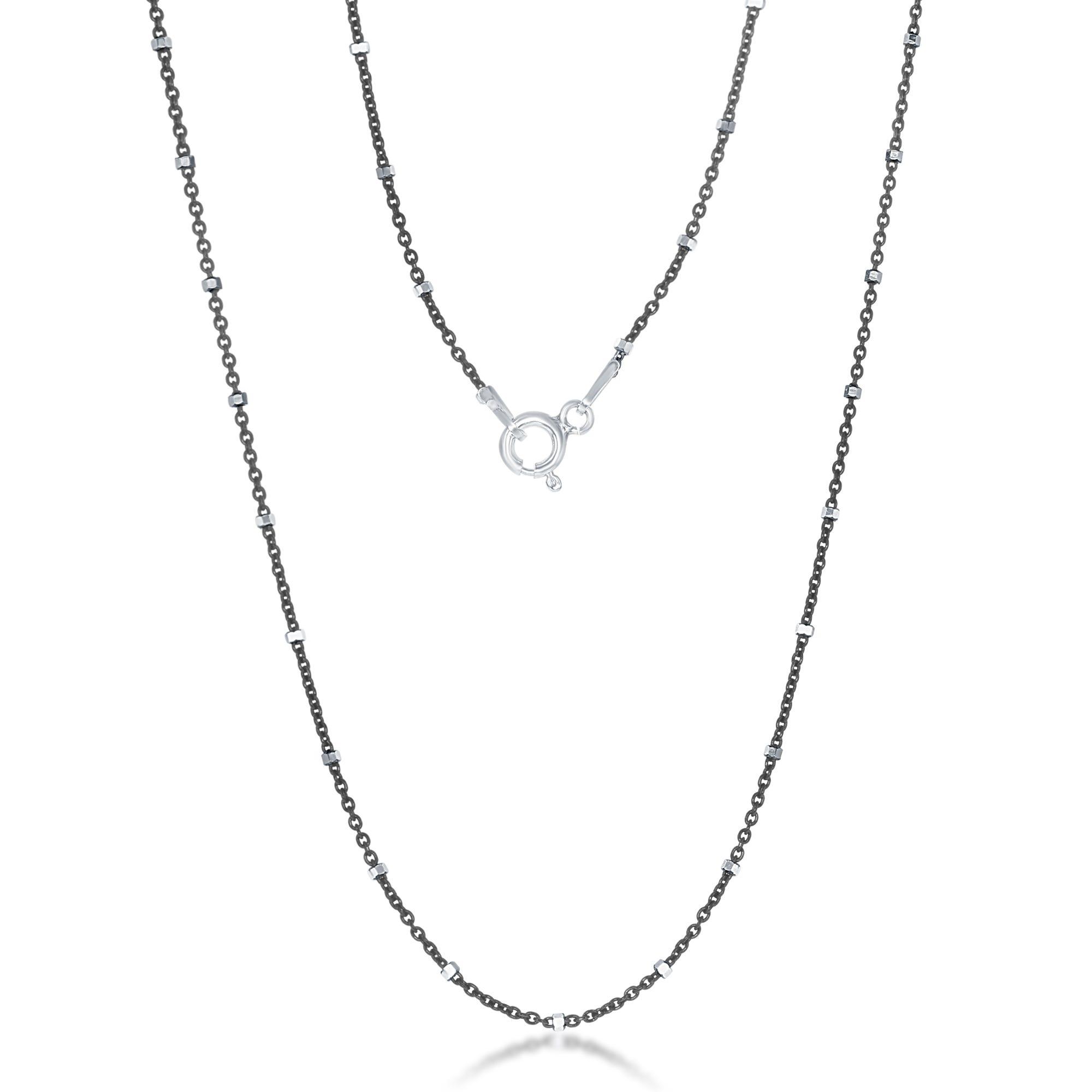 Black Rhodium Diamond Cut Station Chain 24