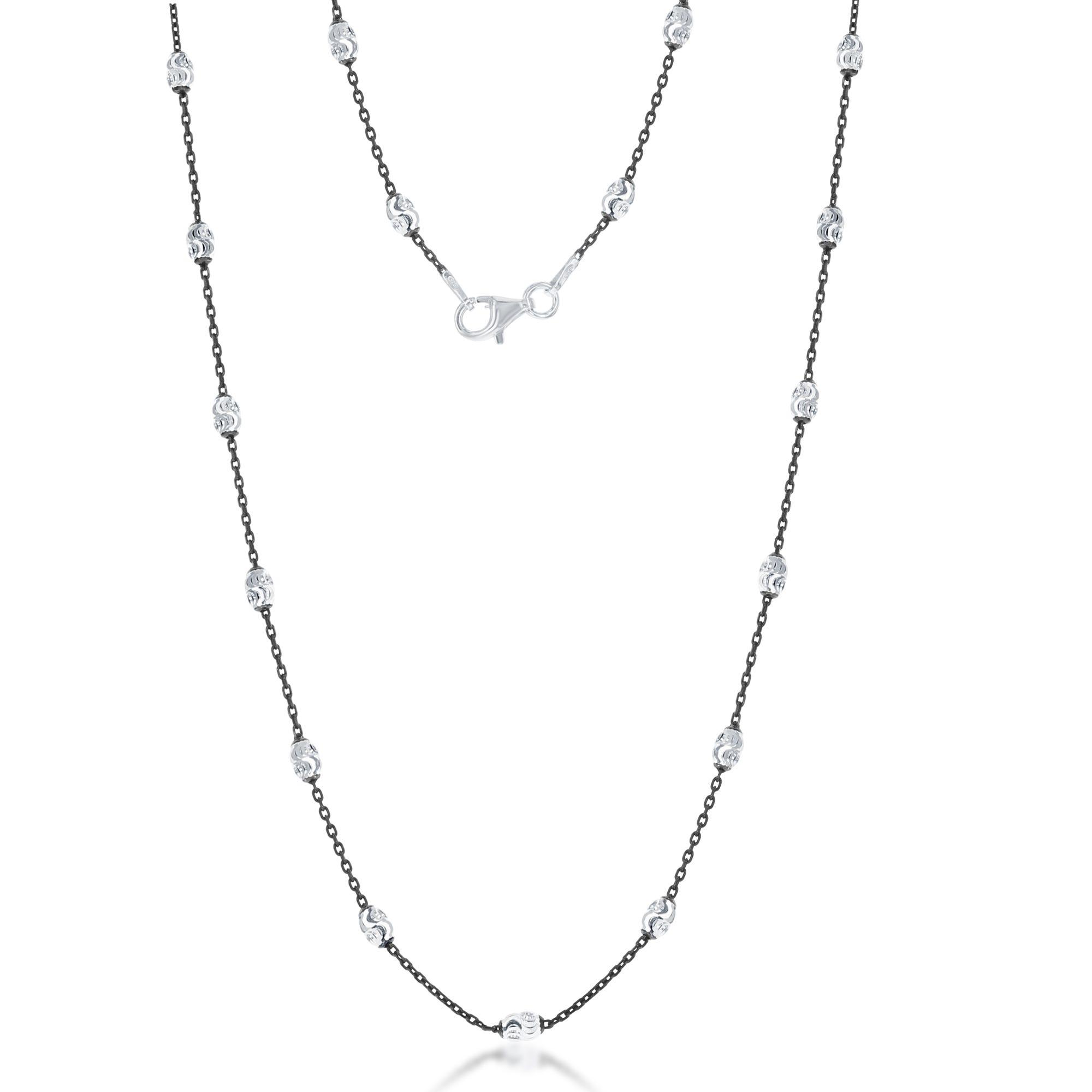 Black Rhodium Diamond Cut Oval Moon Bead Chain 20