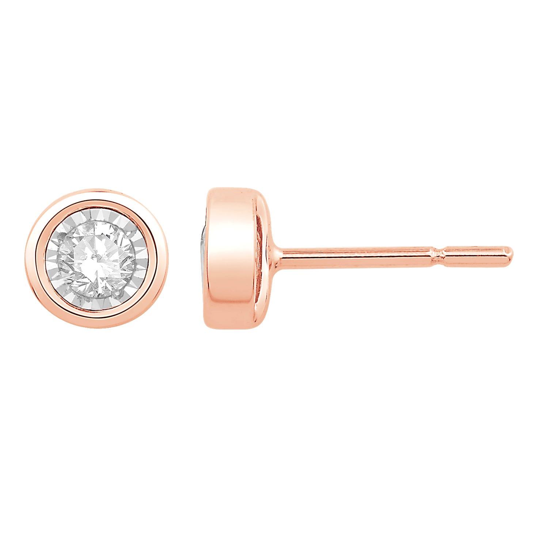 Bezel-Set Diamond 1/10ctw. (HI, I2-3) Solitaire Stud Earrings in 10k Rose Gold
