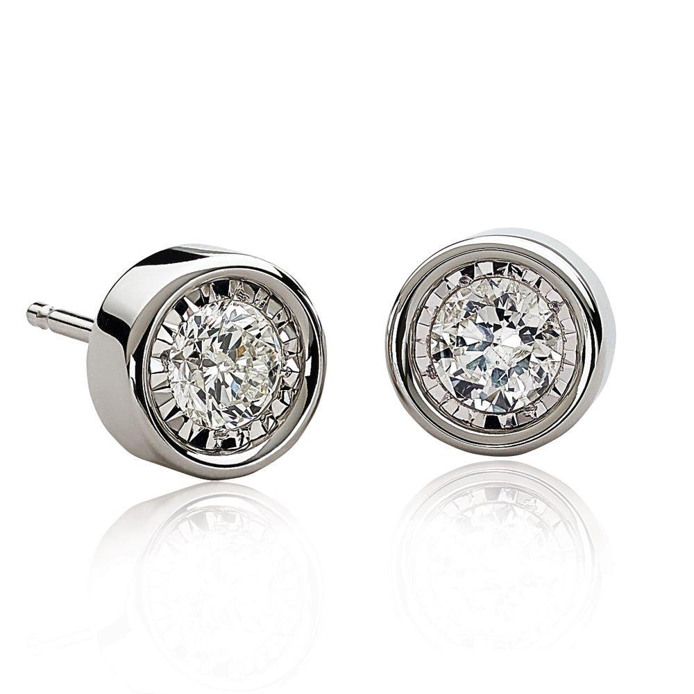Bezel-Set Diamond 1/10ctw. (HI, I2-3) Solitaire Stud Earrings in 10k White Gold