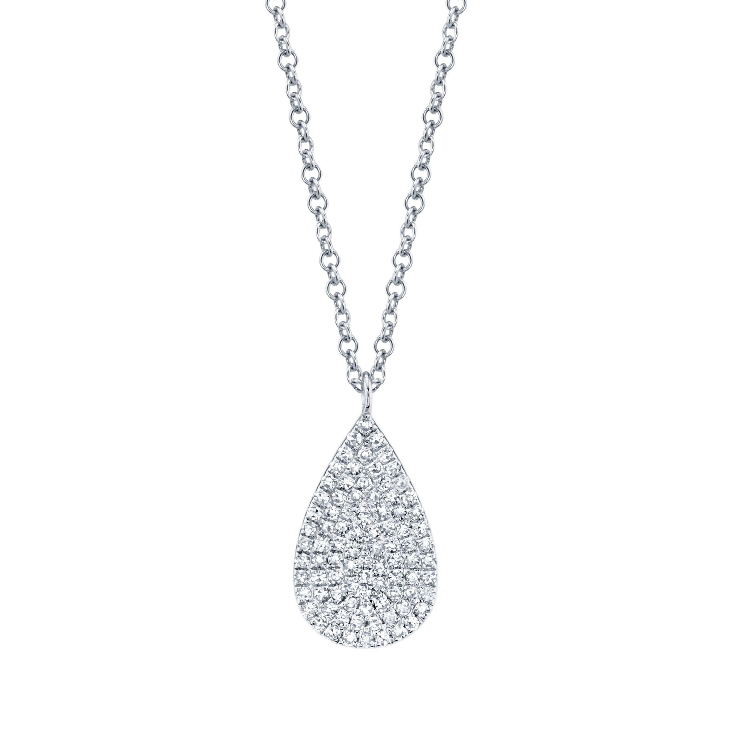Shy Creation Diamond Teardrop Cluster Pendant in 14k White Gold SC55002001
