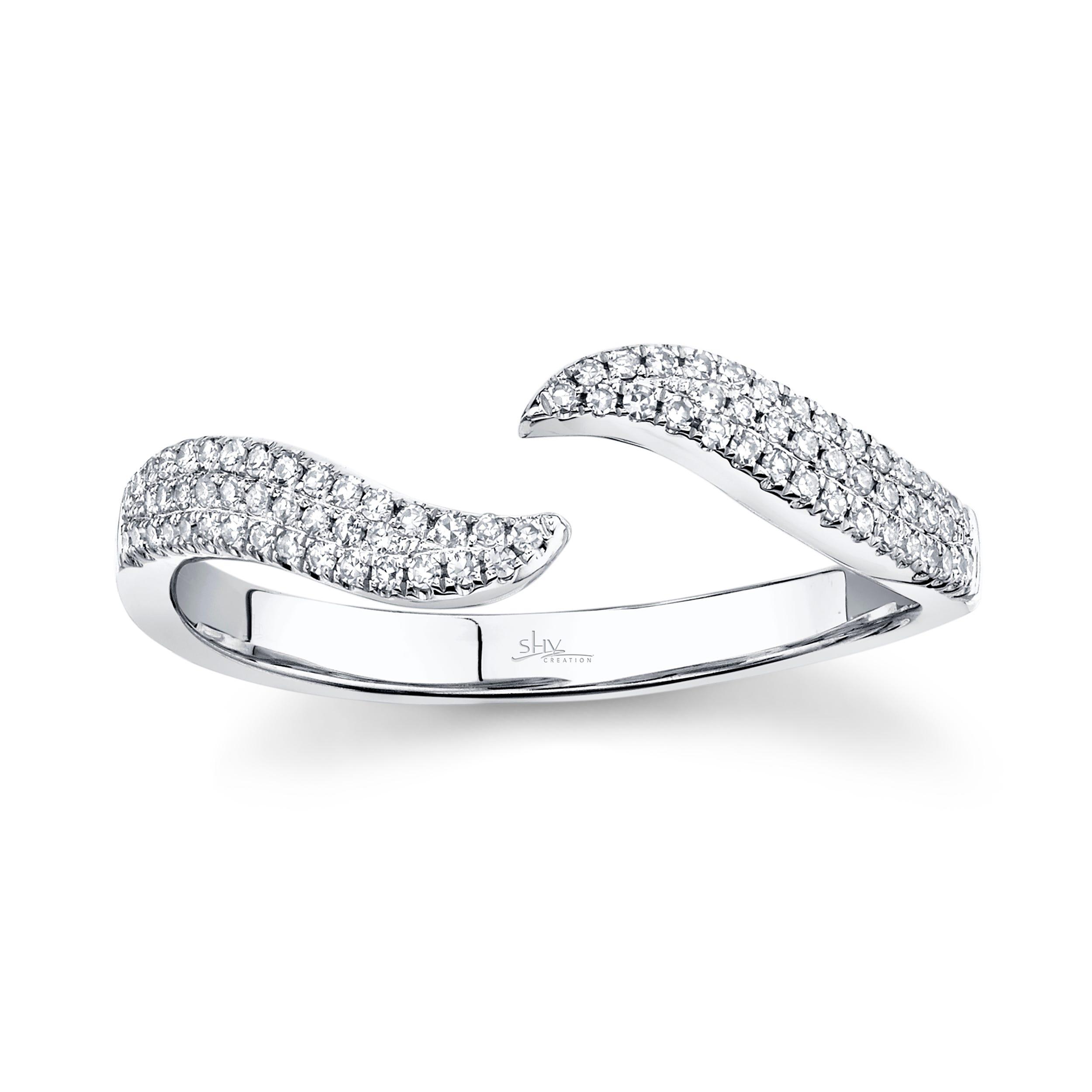 Shy Creation Diamond Open Wave Wrap Ring 14k White Gold SC55003448