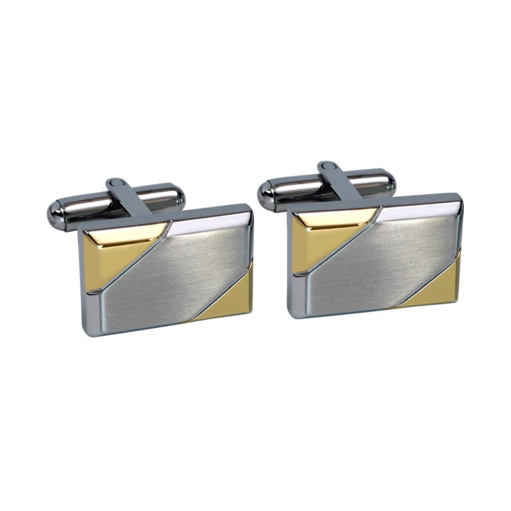 Satin Silvertone Polished Goldtone Cuff Links