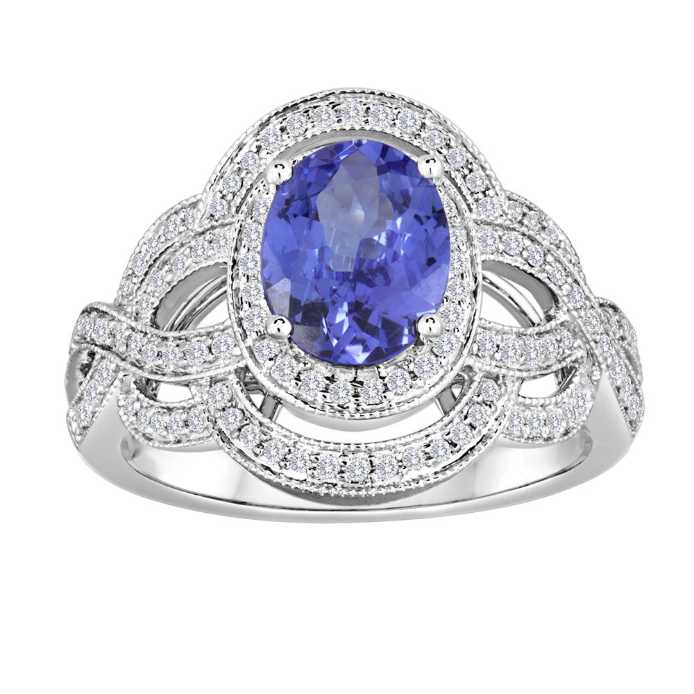 Tanzanite Oval Vintage-Inspired Diamond Enhanced Ring in 14k White Gold