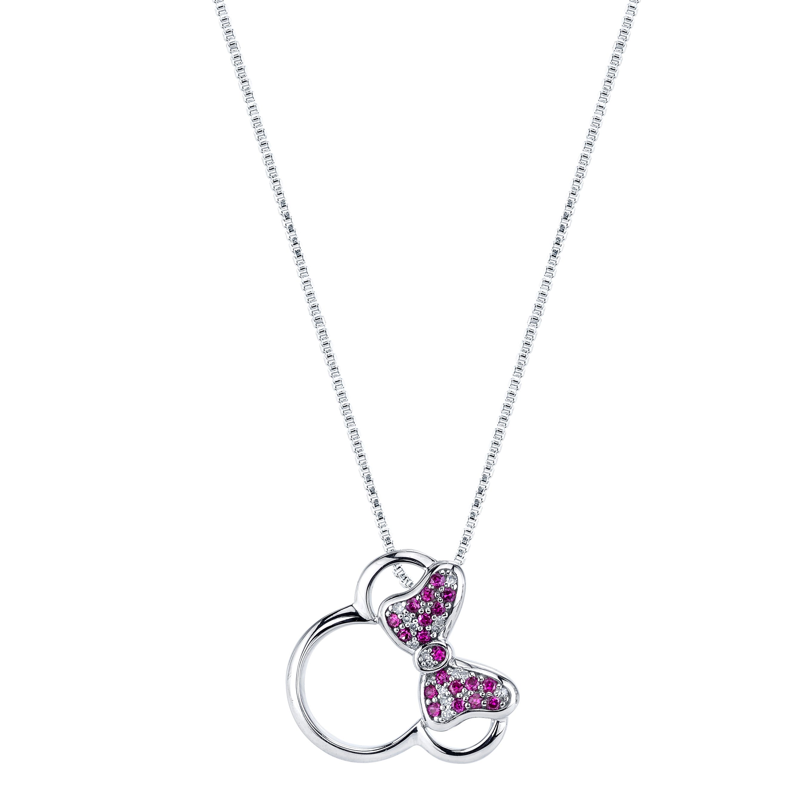 DISNEY© Diamond Synthetic Ruby Minnie Mouse Necklace 18