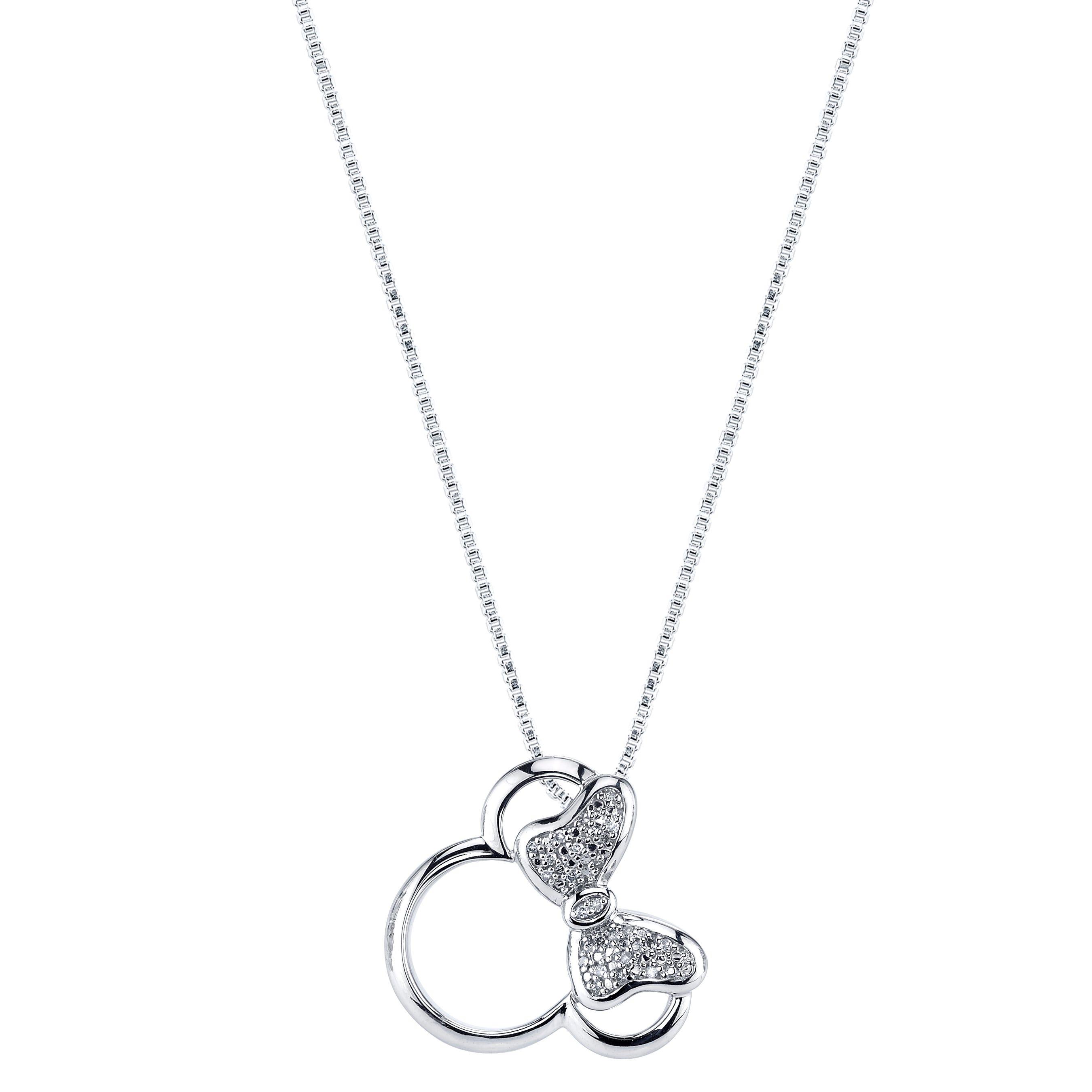DISNEY© Diamond Minnie Mouse Bow Necklace 18