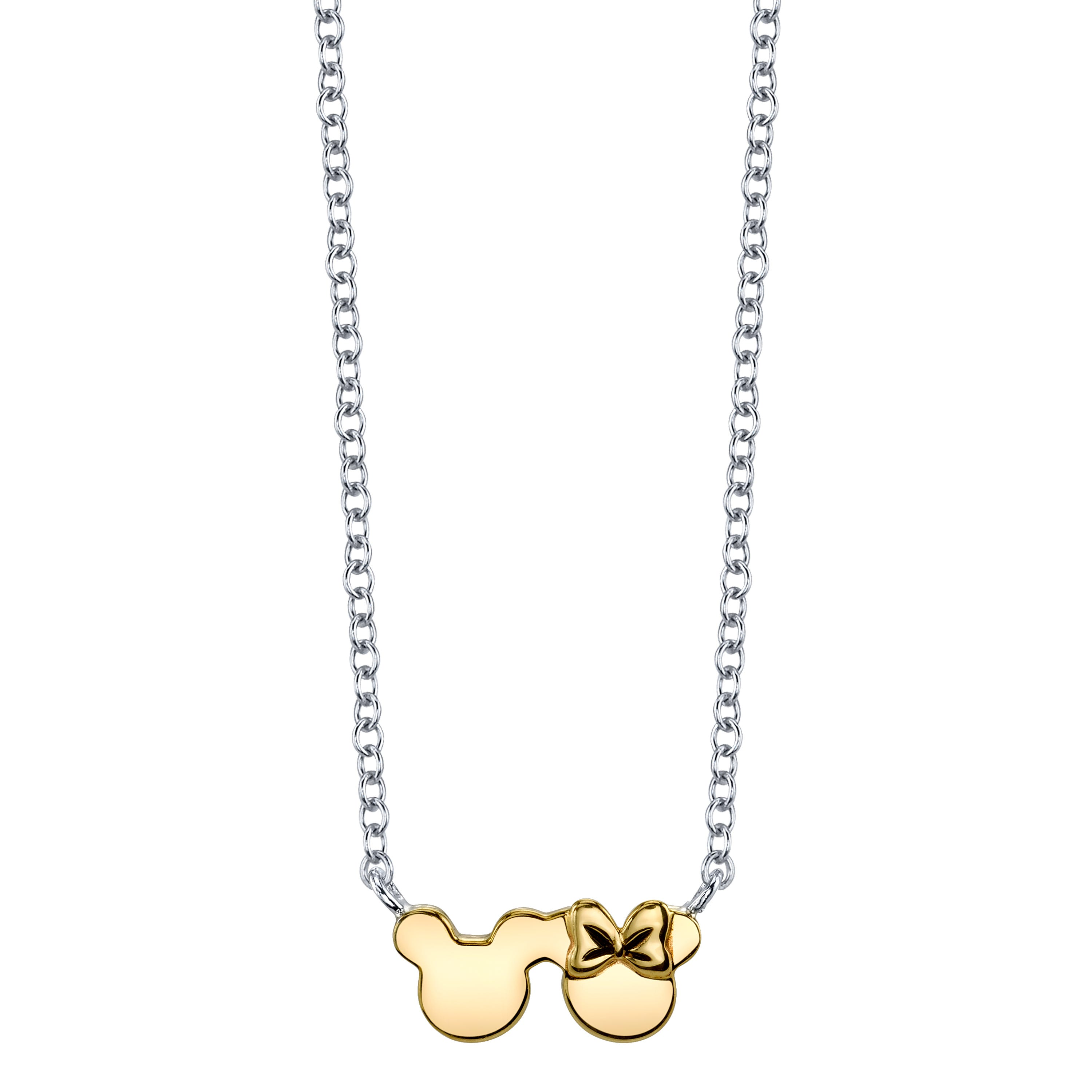 DISNEY© Mickey & Minnie Mouse Necklace in 10k Yellow Gold