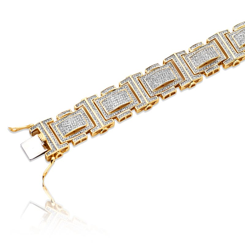Men's Diamond 9in. 5ctw Micro Pave Bracelet in 10k Yellow & White Gold