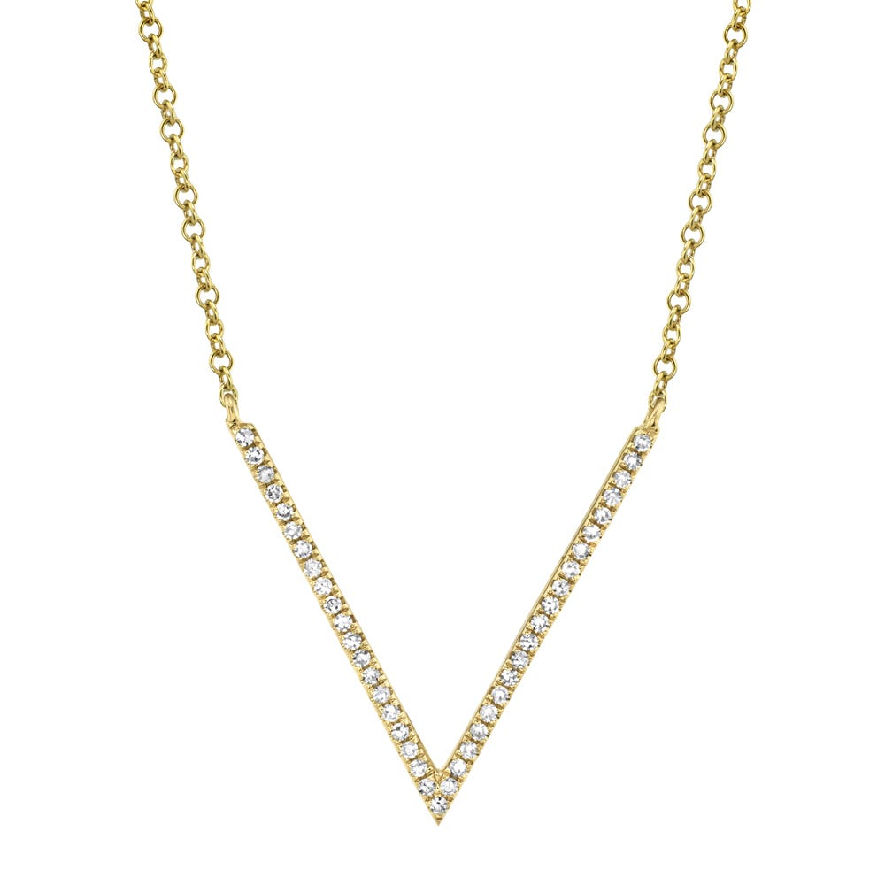 Shy Creation: V 1/8ctw Pendant in 14k Yellow Gold