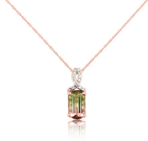 JK Crown® Watermelon Tourmaline & Diamond Pendant in 10k Rose Gold