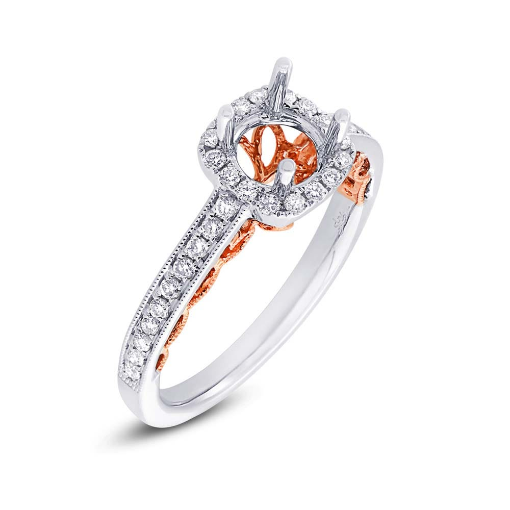 Shy Creation Bridal Diamond Halo Semi-Mount in 14k White & Pink Gold SC28023323