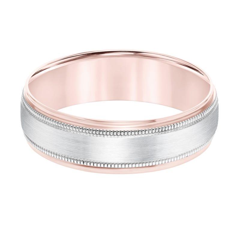 Men S Brushed Finish Center Milgrain Detail Wedding Band In 14k Rose Gold