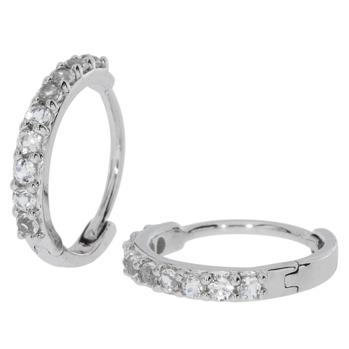 Diamond .19ctw. Huggie Earrings in 14k White Gold