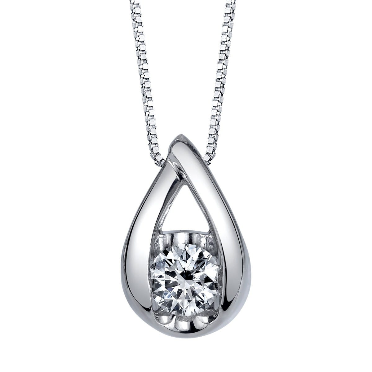 Sirena Diamond Pear Drop 1/10ctw. Pendant in 14k White Gold