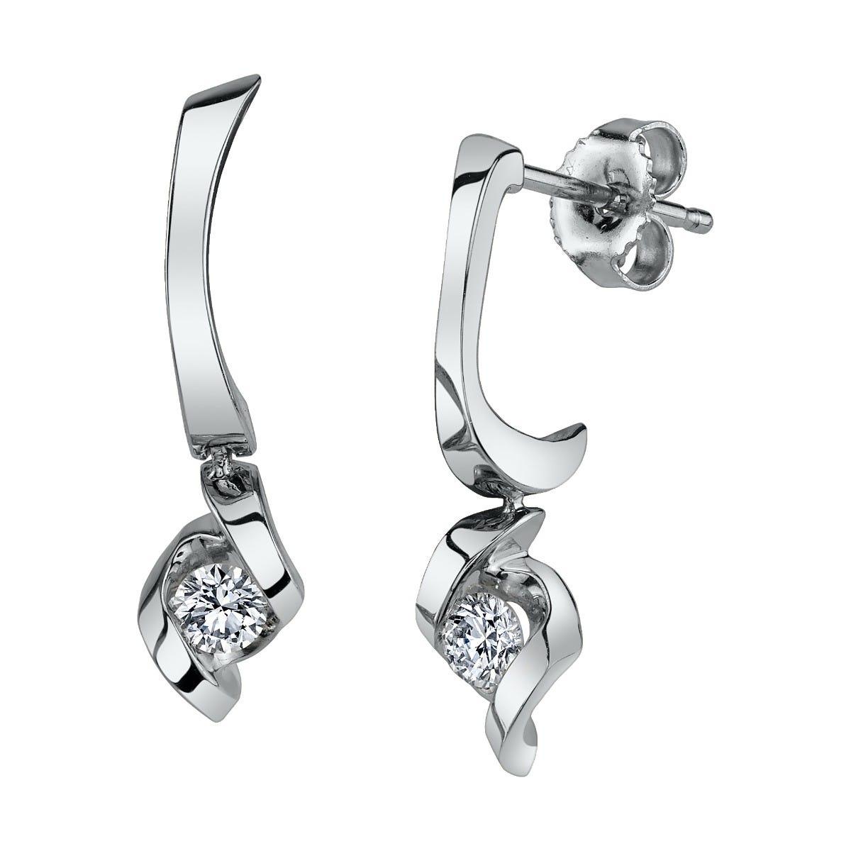 Sirena Diamond Drop Earrings in 14k White Gold