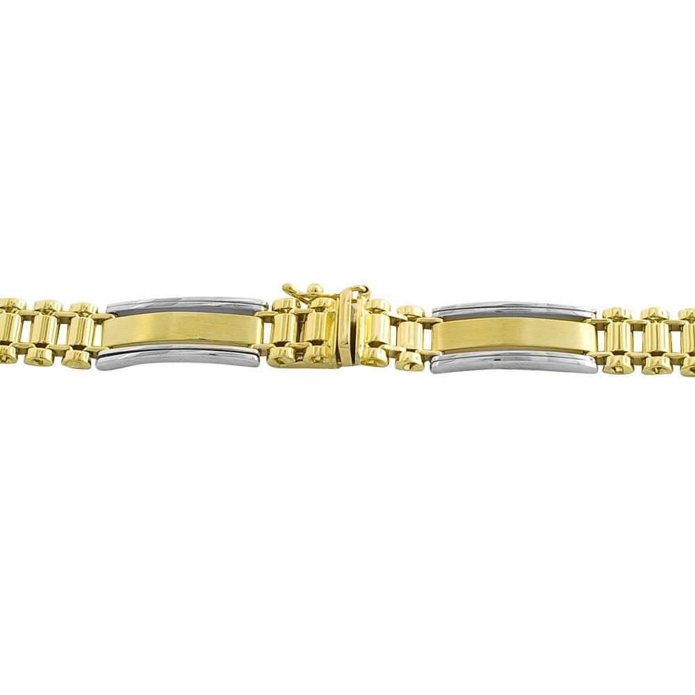 Men's Rolex-Link 8.25in. Bracelet in 10k Yellow & White Gold