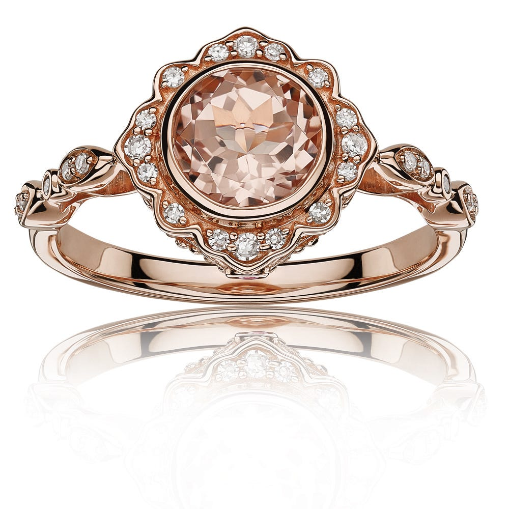 JK Crown® Bezel-Set Morganite & Diamond Halo Ring in 10k Rose Gold