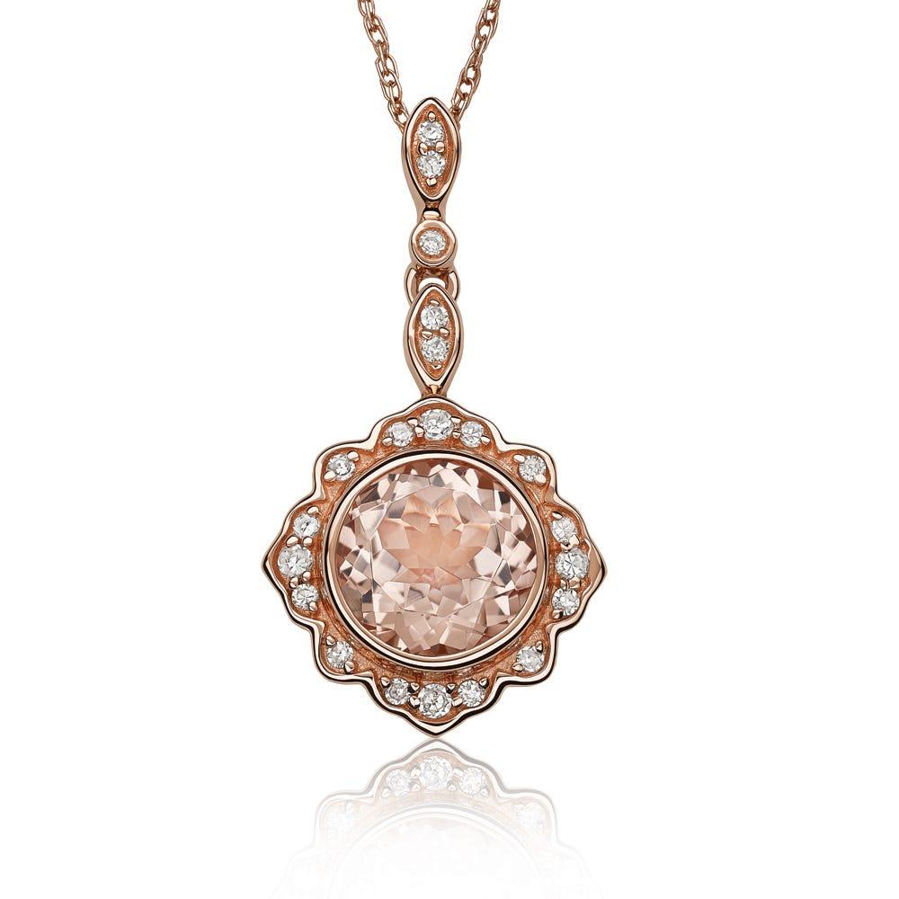 JK Crown® Morganite Bezel Set Pendant in 10k Rose Gold