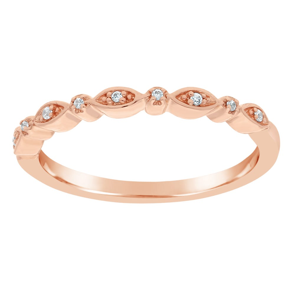 Diamond Round Stackable .04ctw Band in 10k Rose Gold