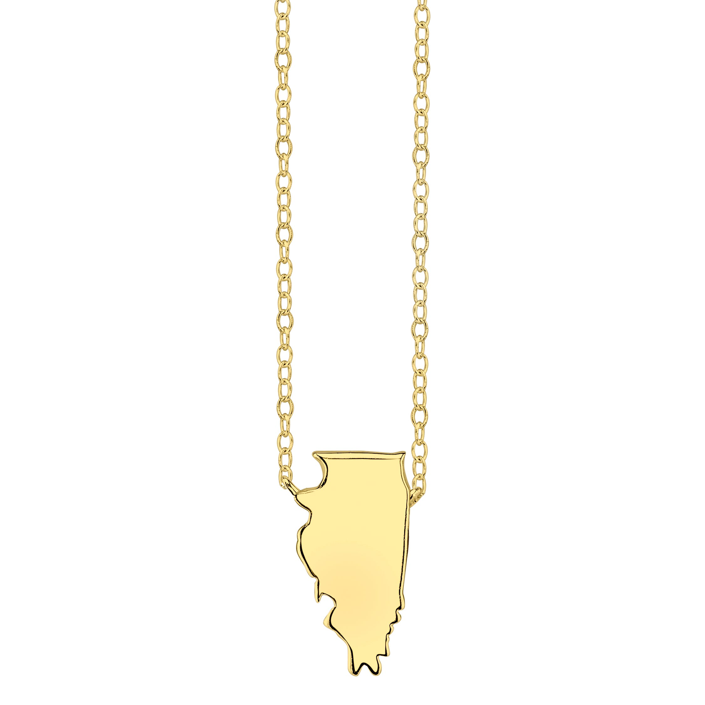 Illinois State Pendant Necklace in Yellow Gold Plated Sterling Silver