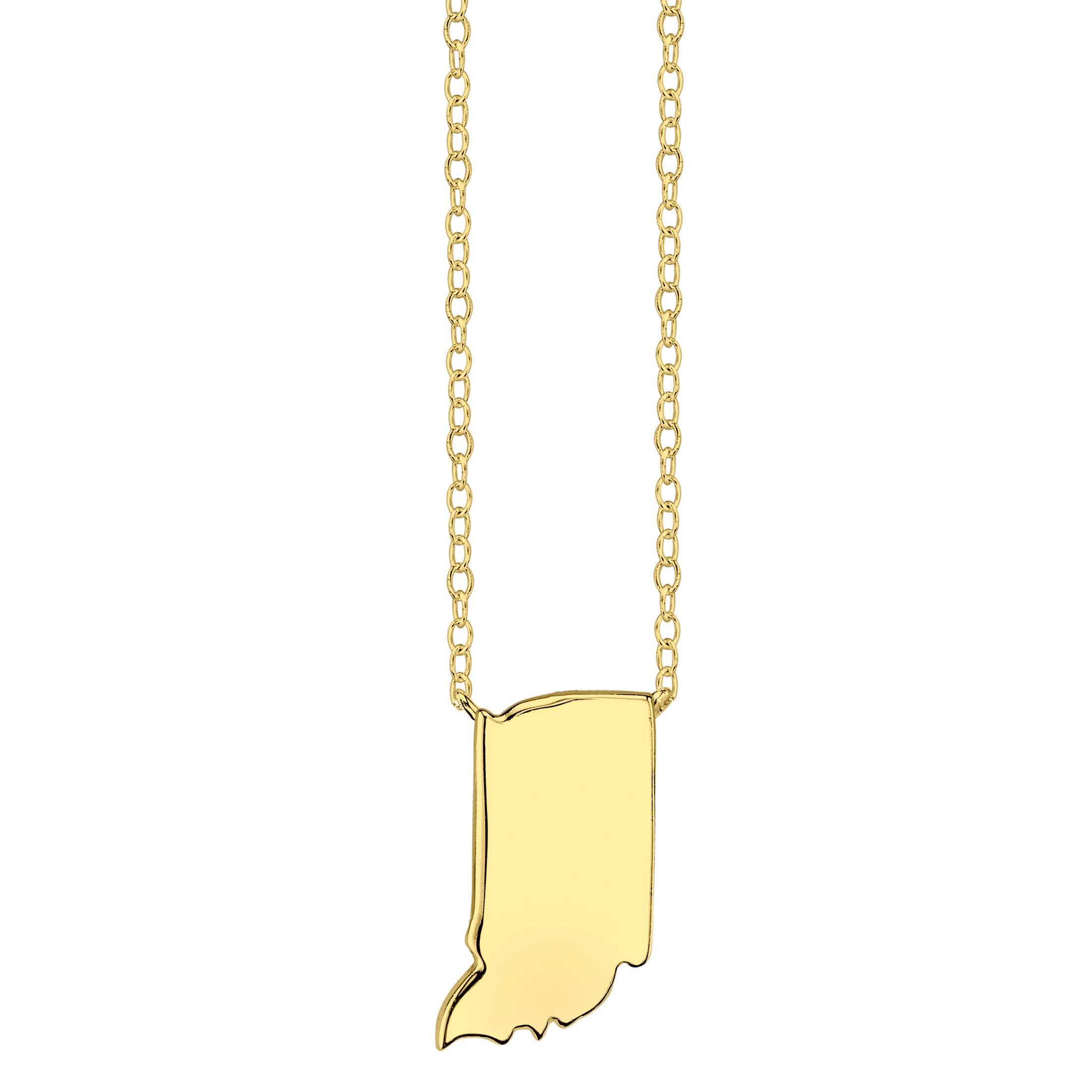 Indiana State Pendant Necklace in Yellow Gold Plated Sterling Silver
