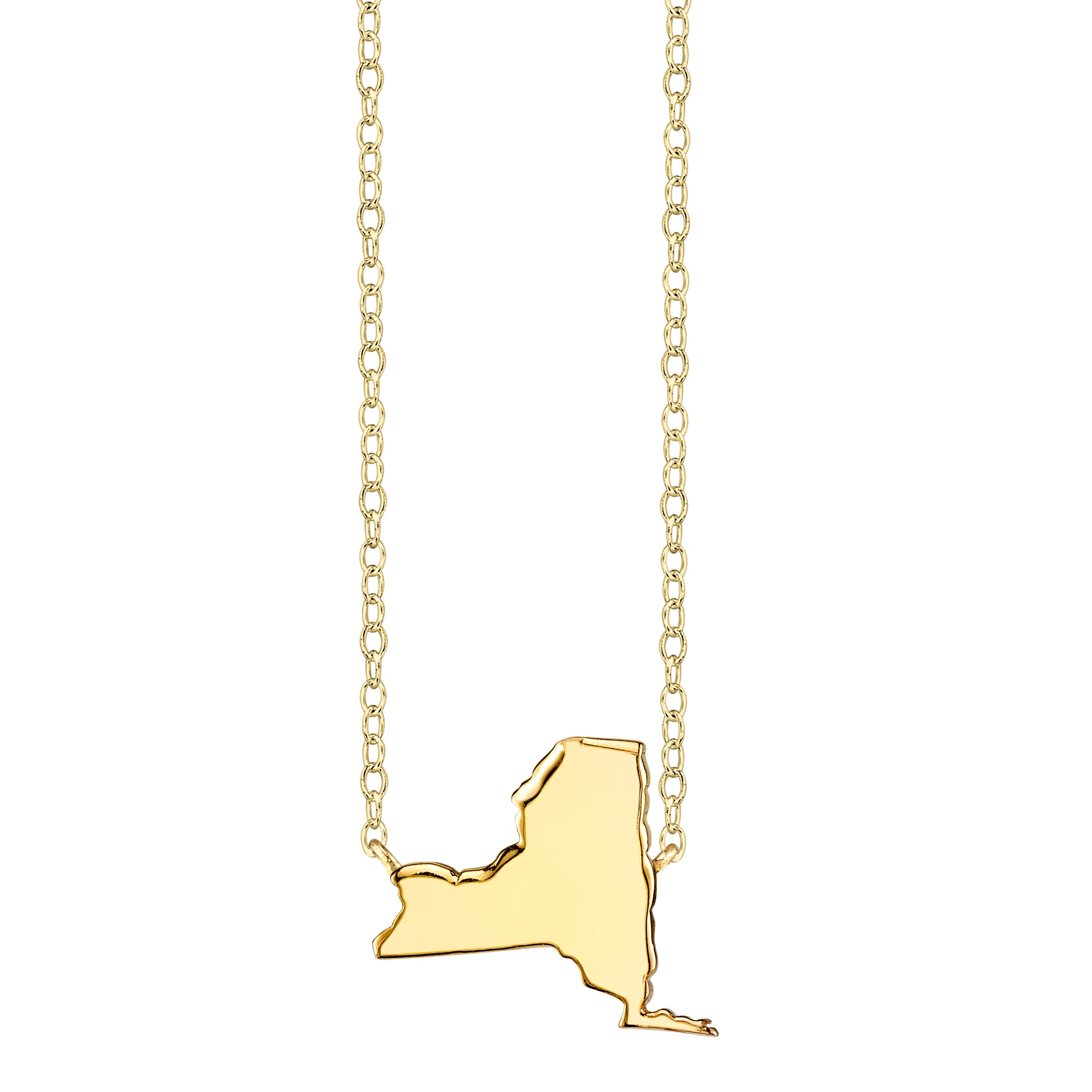 Custom New York Necklace New York Pendant Necklace Sterling Silver New York Charm Necklace New York State Necklace Choose Your Font