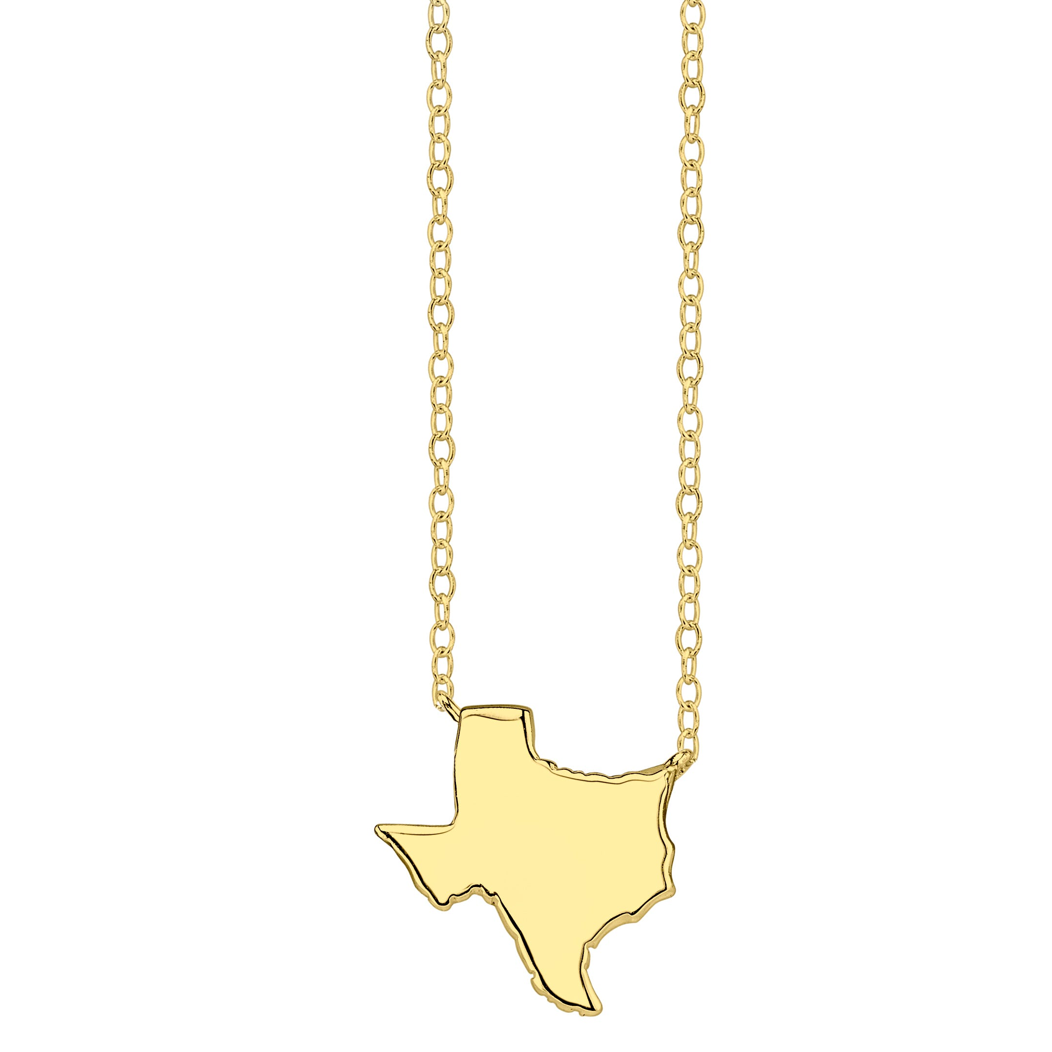 Texas State Pendant Necklace in Yellow Gold Plated Sterling Silver