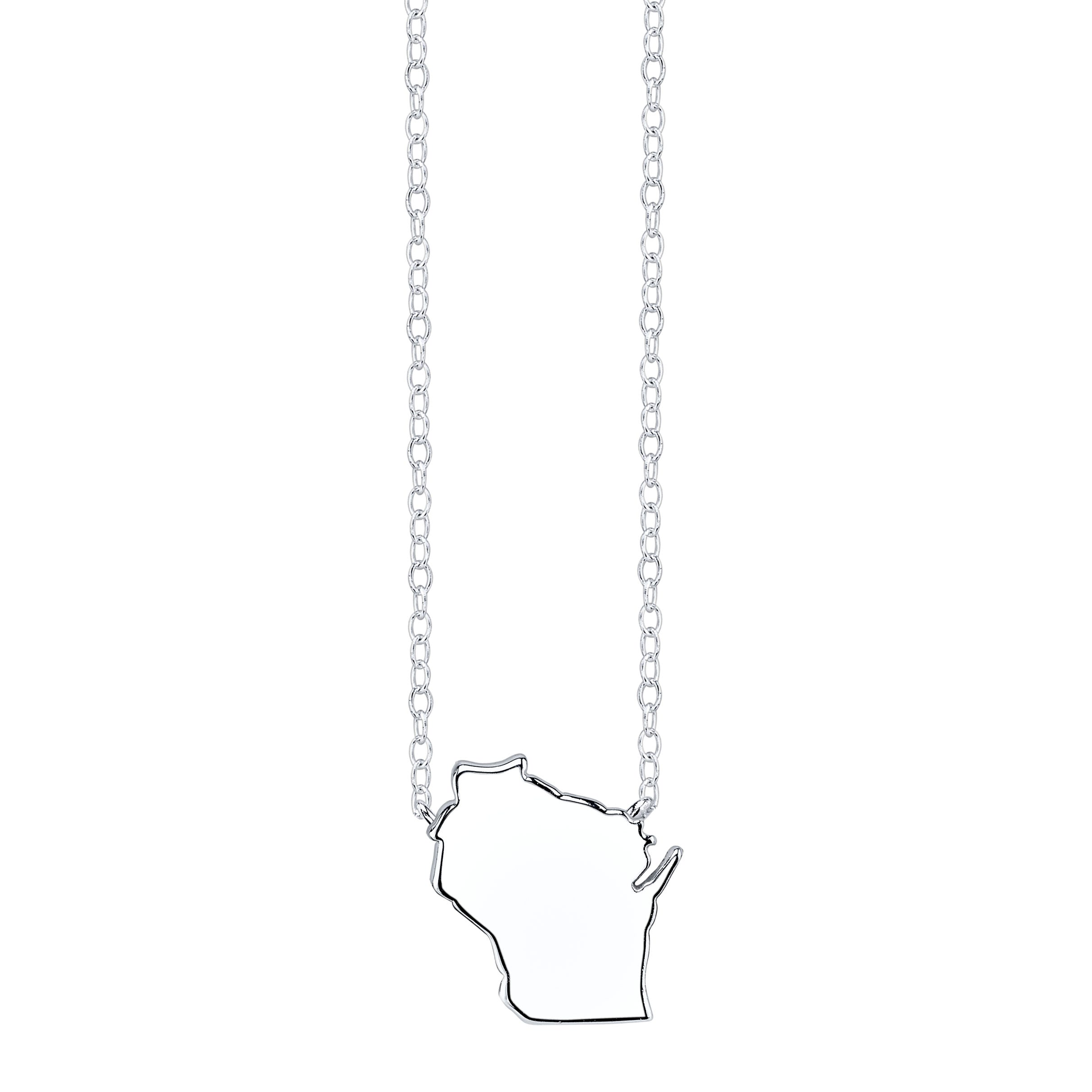Wisconsin State Pendant Necklace in Sterling Silver