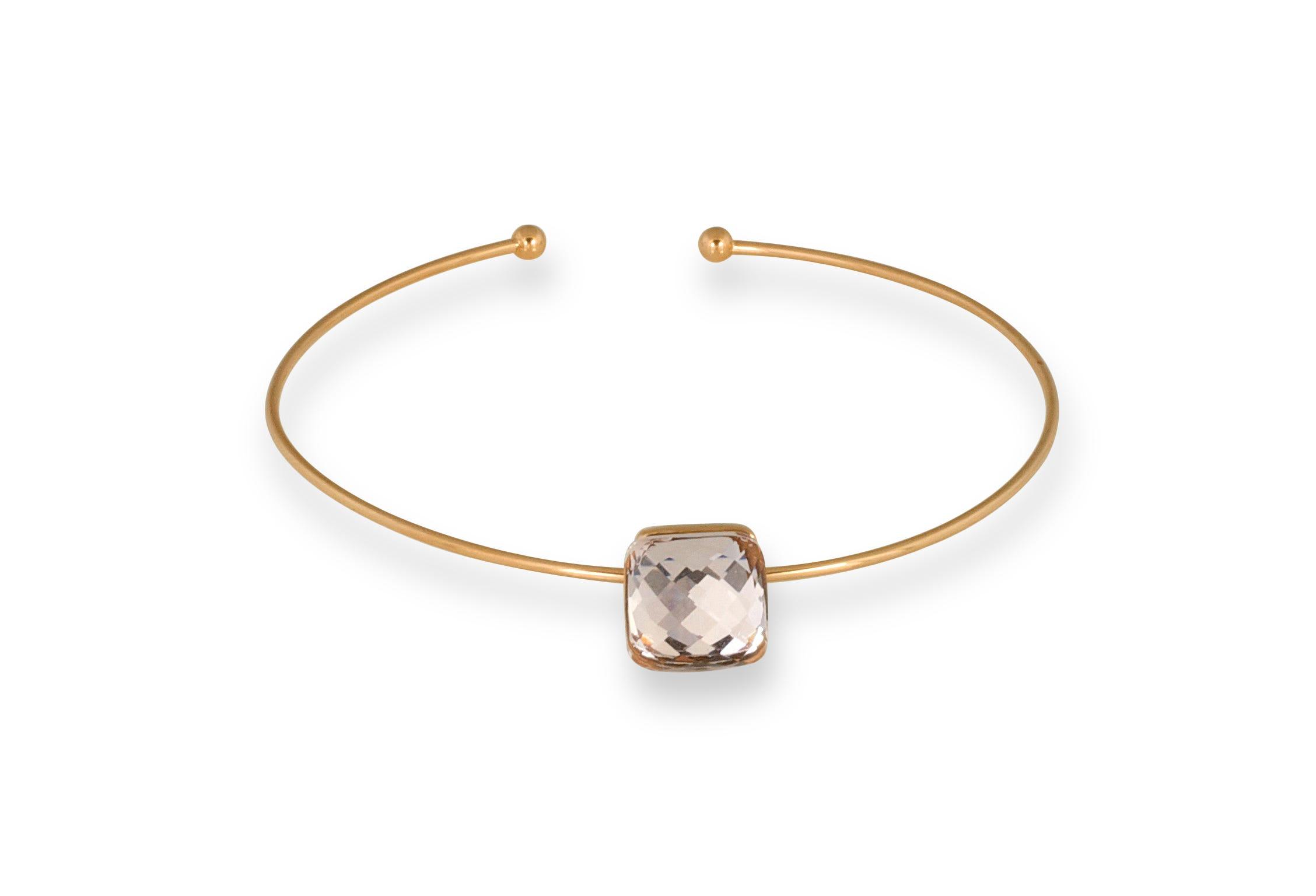 Light Pink Glass Rose Plated Bangle Bracelet