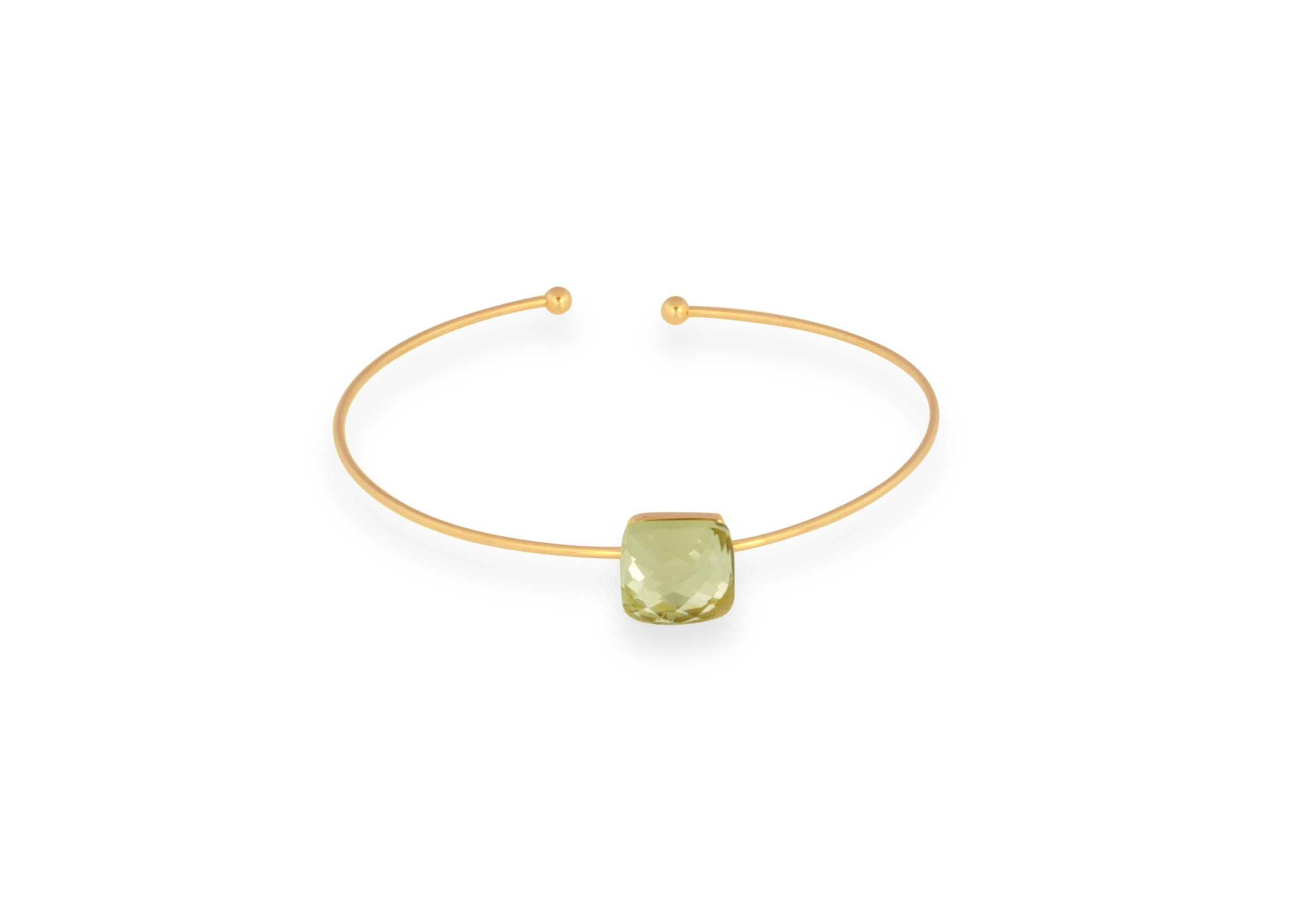 Yellow Glass Gold Plated Bangle Bracelet
