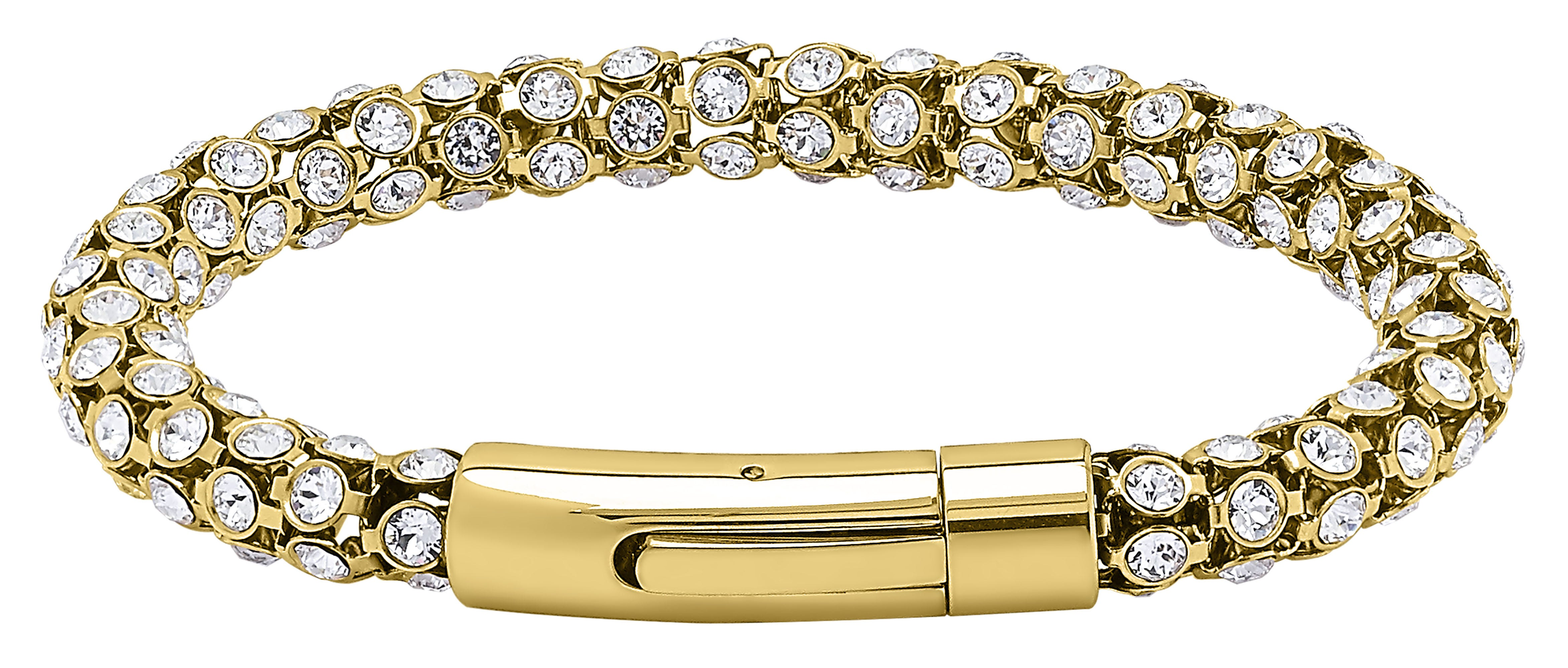 Crystal 'Popcorn' Link Clasp Bracelet Plated Yellow Gold