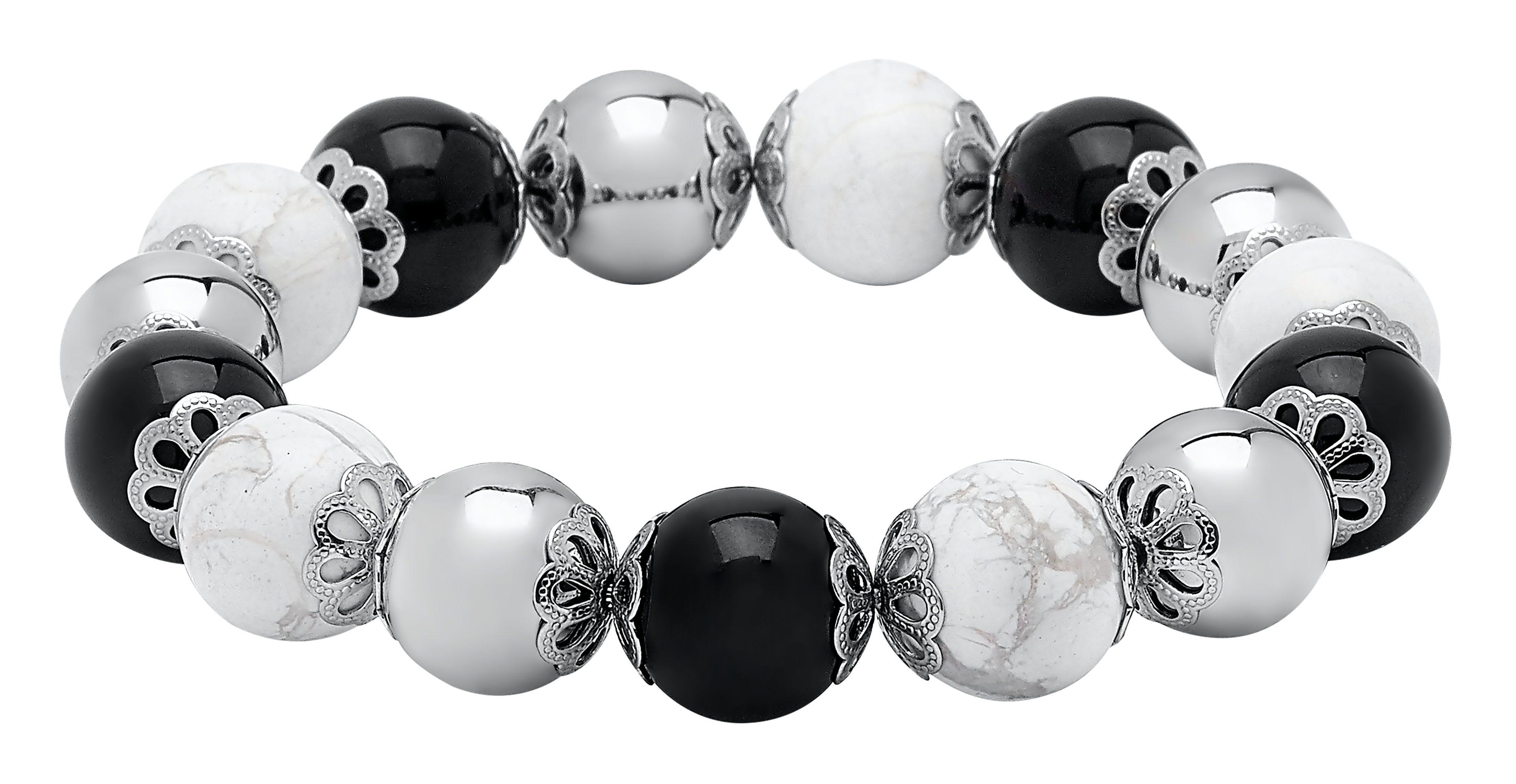 Black Onyx & White Howlite Ball Beaded Bracelet