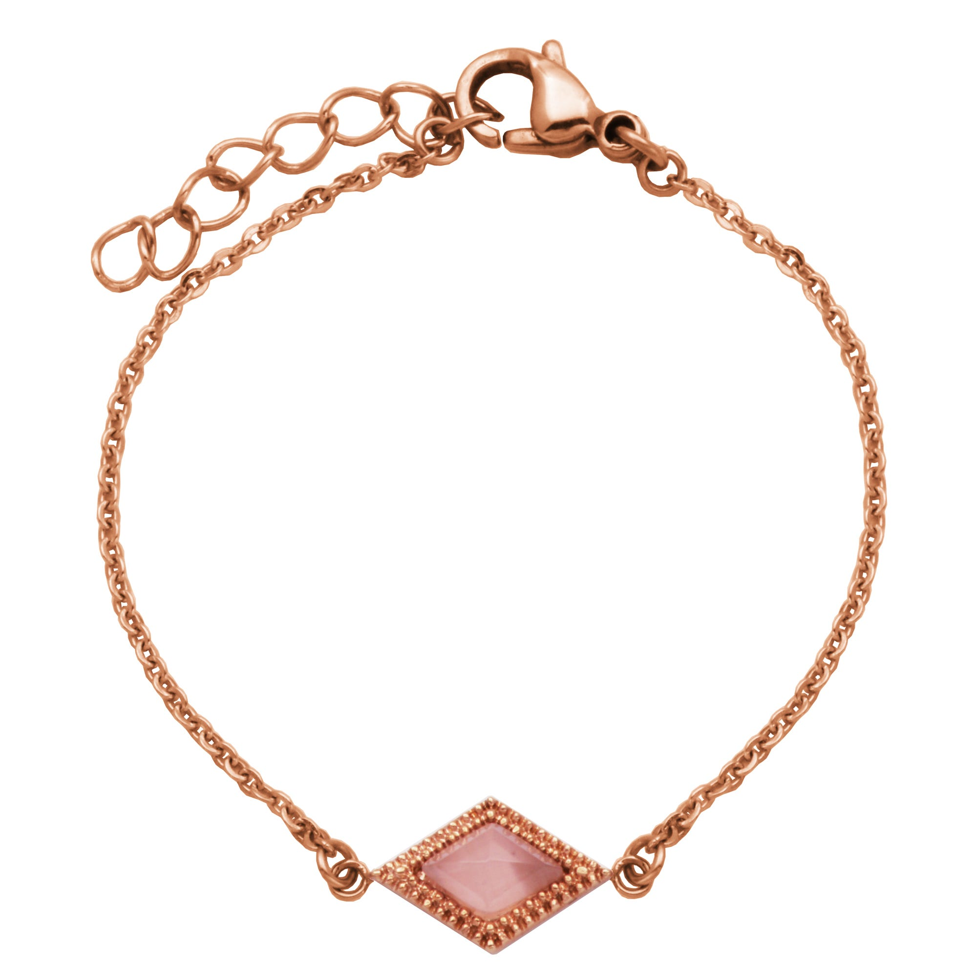 Rose Pink Cat-Eye Diamond-Shape Bracelet