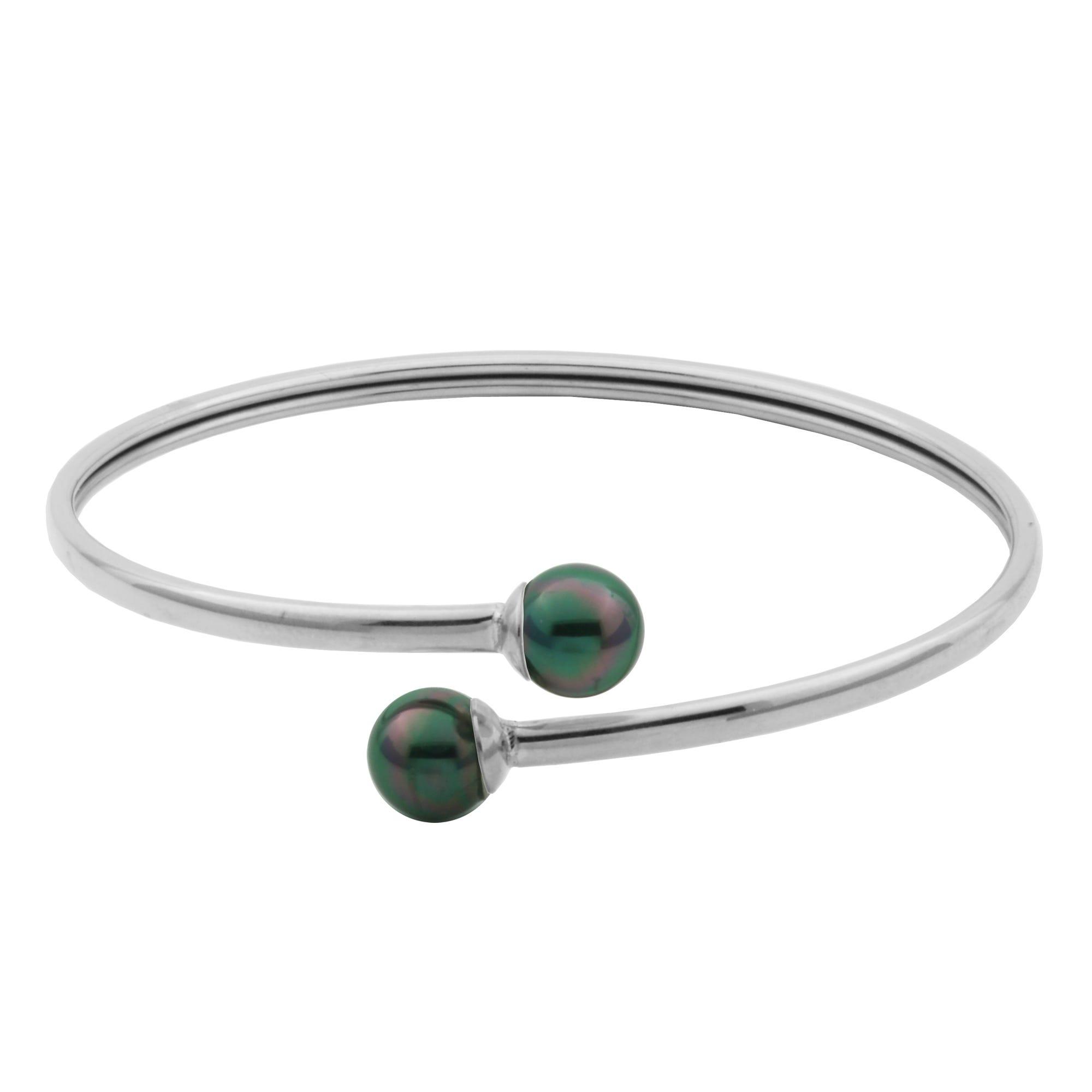 Double Grey Pearl Flexible Open Bangle Bracelet