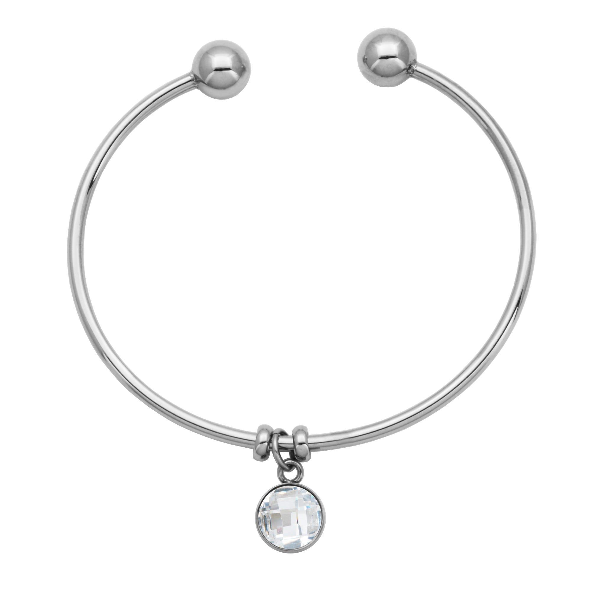 White Crystal Charm Flexible Bangle Bracelet