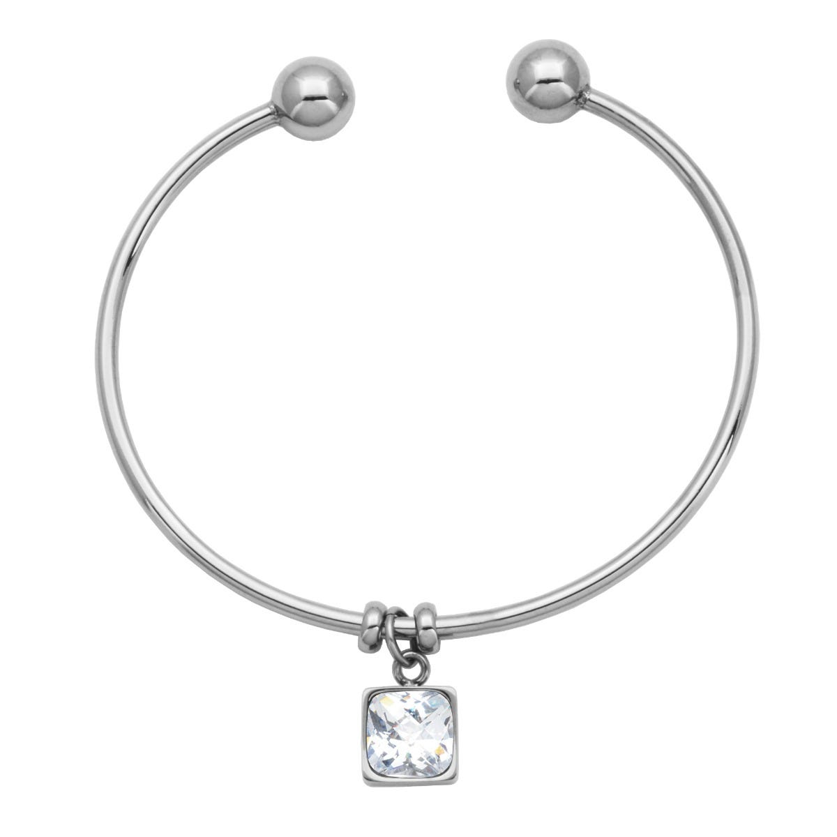 White Crystal Cushion-Cut Flexible Cuff Bangle Bracelet