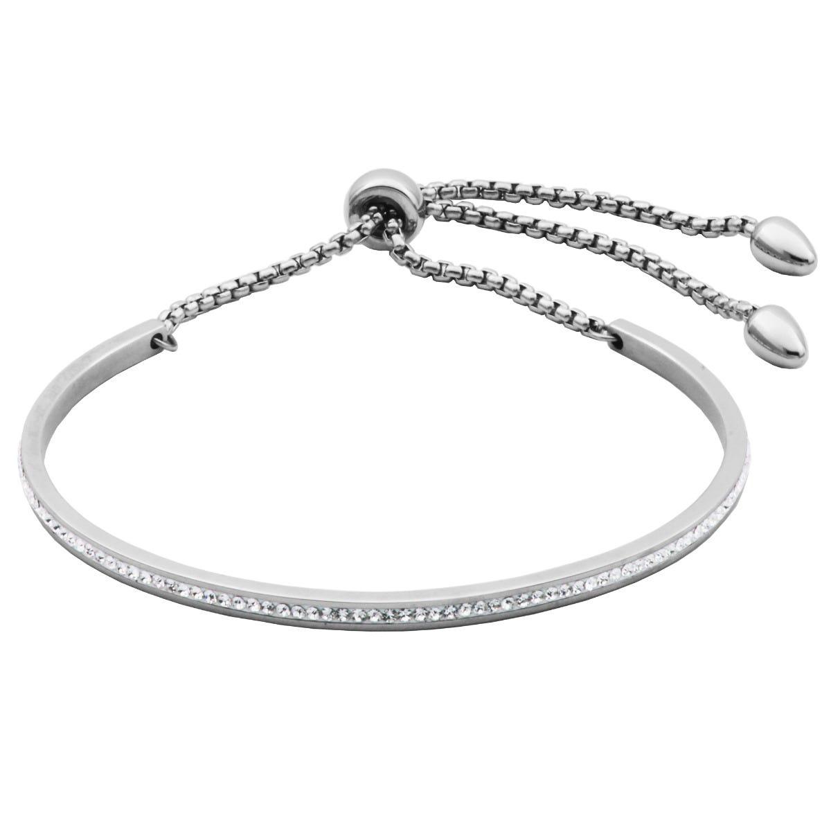 White Crystal Bolo Bracelet