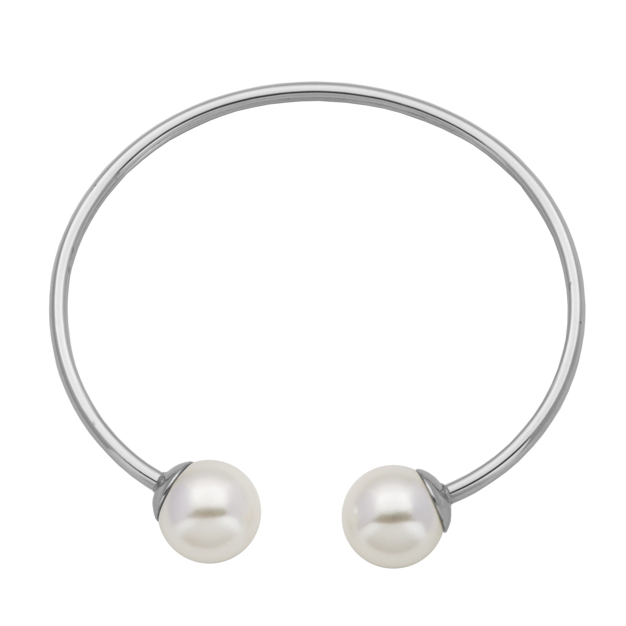 Double Pearl Open Flexible Bangle Bracelet