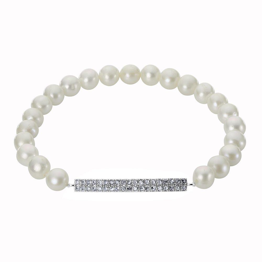 Imperial Pearl Charm Stretch Crystal Bar Bracelet