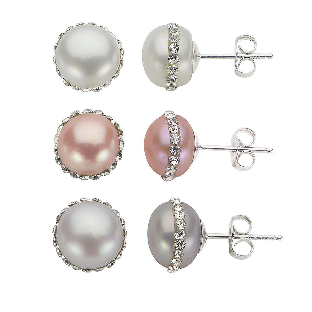 Imperial Pearl Multicolored Crystal Freshwater Orbit Pearl Stud Earrings