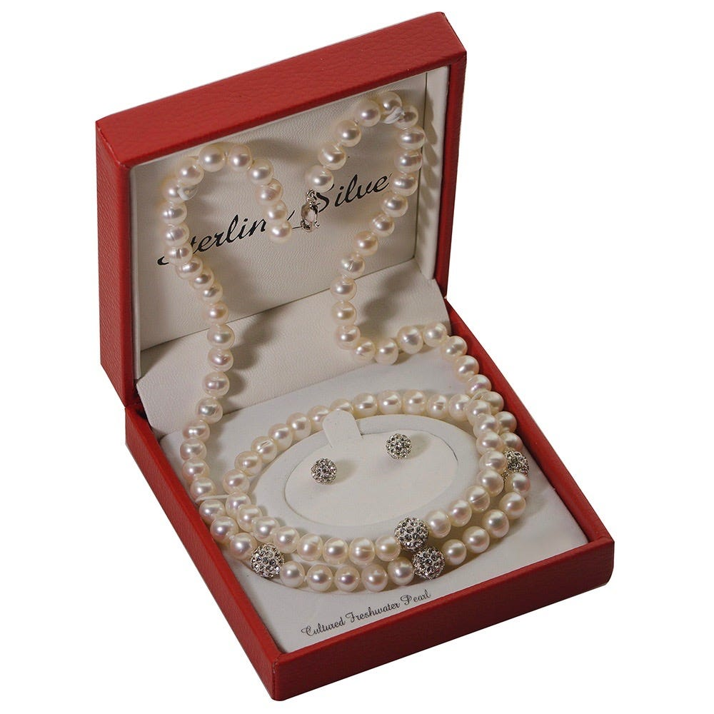 Imperial Pearl Cultured Freshwater Pearl & Crystal Necklace, Bracelet & Earrings Set